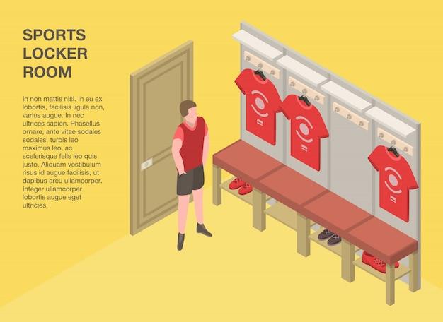 Sport kleedkamer banner, isometrische stijl Premium Vector