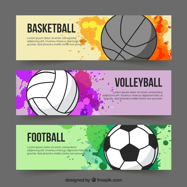 Sport kleurrijke banners Gratis Vector
