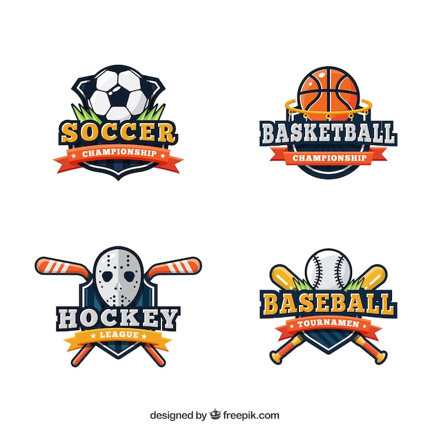 Sport logo collectie Gratis Vector