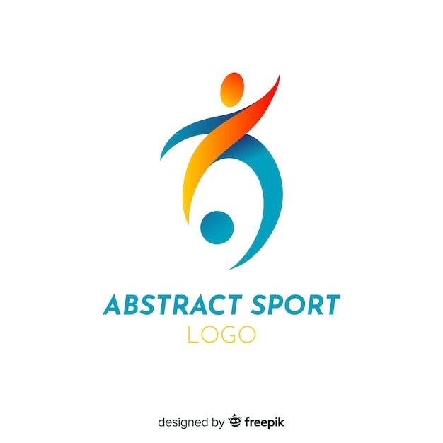 Sport logo sjabloon met abstracte vorm Premium Vector