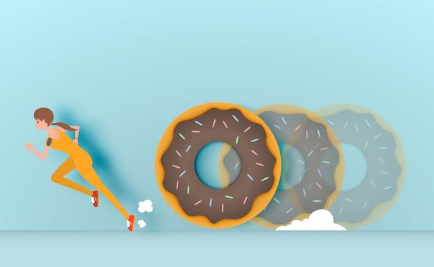 Sport meisje vluchteling van donut vectorillustratie Premium Vector