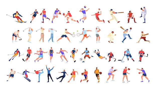 Sport mensen ingesteld. verzameling van verschillende sportactiviteiten. professionele atleet die aan sport doet. basketbal, voetbal, volleybal en tennis. illustratie Premium Vector