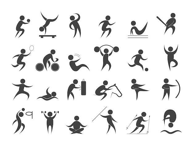 Sport mensen ingesteld. verzameling van verschillende sportactiviteiten Premium Vector