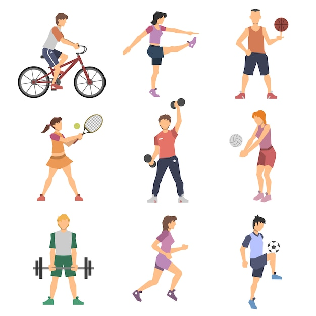 Sport mensen plat pictogrammen instellen Gratis Vector