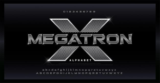 Sport modern steel alphabet zilveren lettertype. Premium Vector