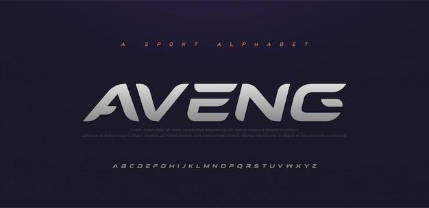 Sport moderne toekomstige cursief alfabet lettertype. typografie stedelijke stijllettertypen voor technologie, digitaal, filmlogo cursief. Premium Vector