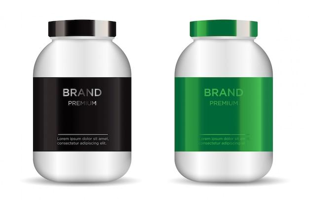 Sport nutrition containers Premium Vector