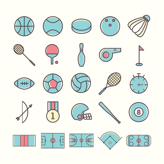 Sport pictogrammen collectie Gratis Vector