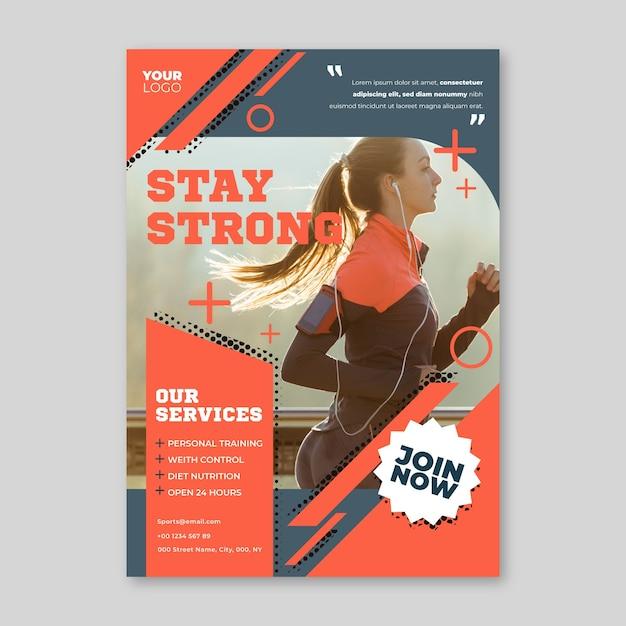 Sport poster met foto Gratis Vector