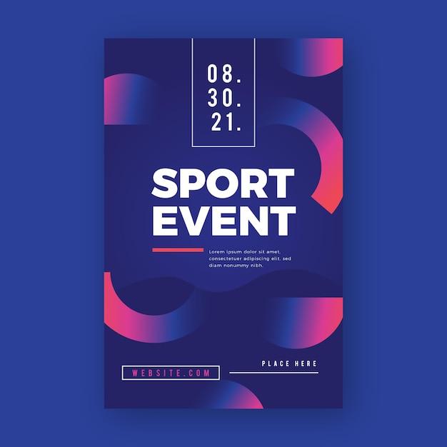 Sport poster met helften van cirkels ontwerp Gratis Vector