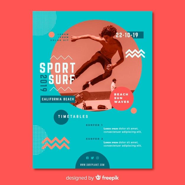 Sport poster sjabloon met afbeelding Gratis Vector