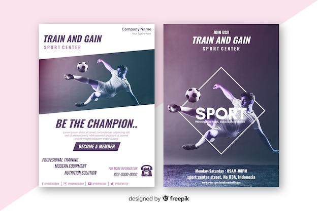 Sport poster sjabloon met chiaroscuro afbeelding Gratis Vector