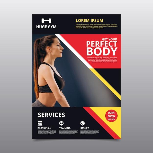 Sport poster sjabloon met foto Gratis Vector