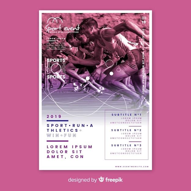 Sport poster sjabloon met mensen die lopen Gratis Vector