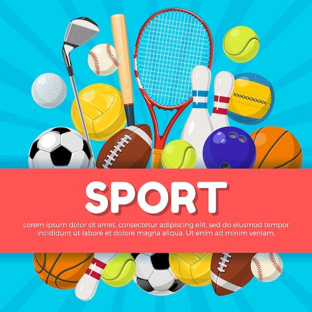 Sport posterontwerp van verschillende apparatuur op de achtergrond en de plaats voor uw tekst. vector illustratie Premium Vector