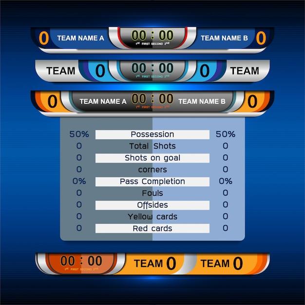 Sport scoreboard broadcast graphic en lower thirds Premium Vector