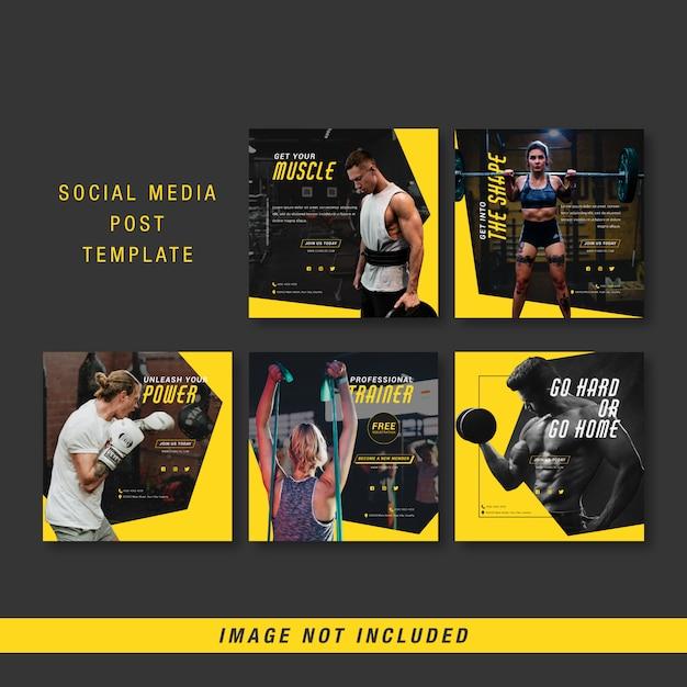 Sport sociale media post sjabloon Premium Vector