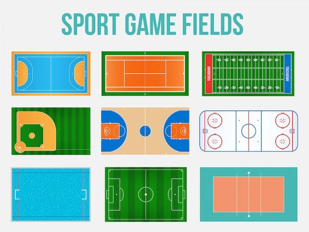 Sport spel velden markering Premium Vector