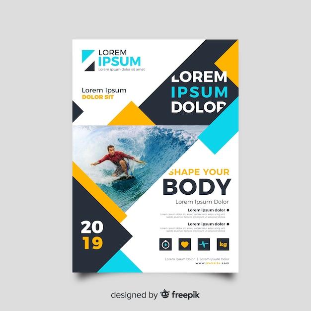 Sport surfen flyer met foto Gratis Vector