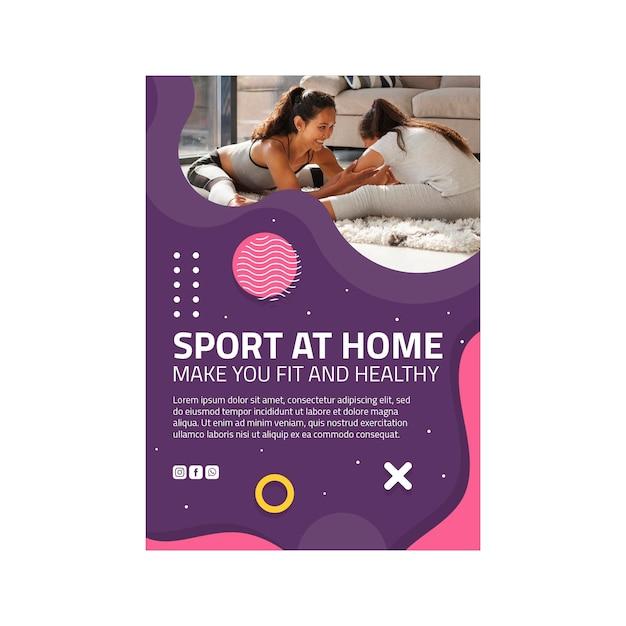 Sport thuis flyer verticaal Premium Vector