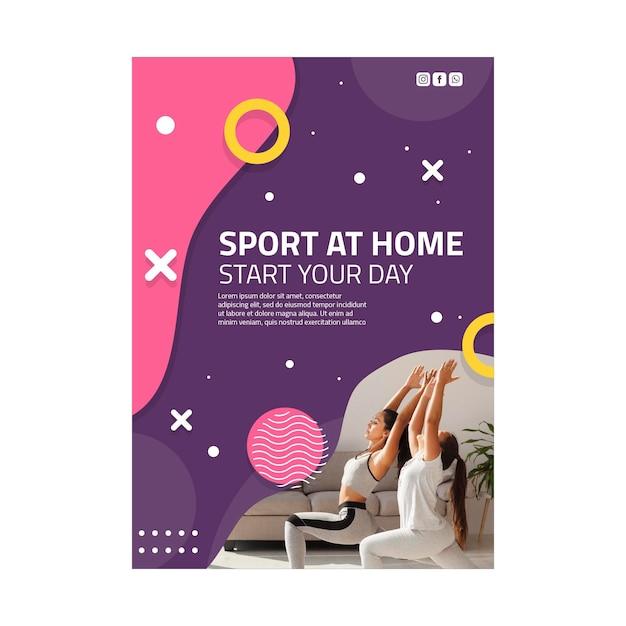 Sport thuis poster sjabloon Gratis Vector