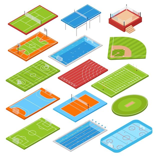 Sport velden isometrische set Gratis Vector