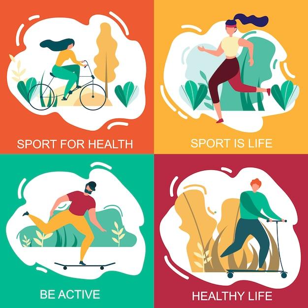 Sport voor gezondheid gezond leven wees actieve bannerset Premium Vector