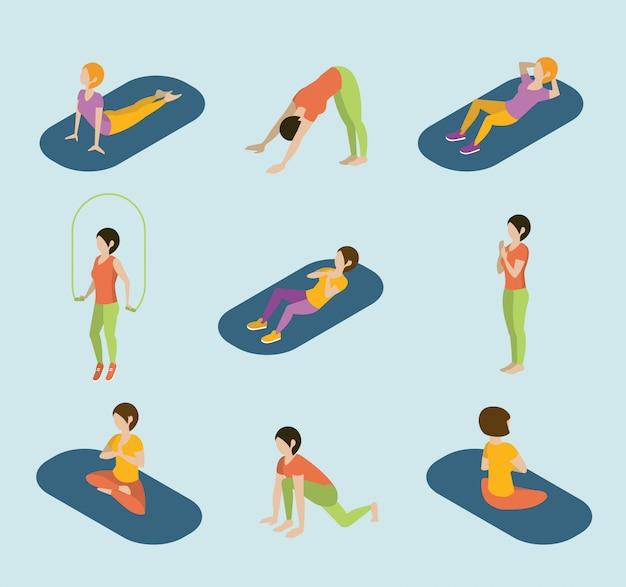 Sport vrouwen yoga gym gymnastiek training oefening flat 3d web isometrische infographic vector. Premium Vector