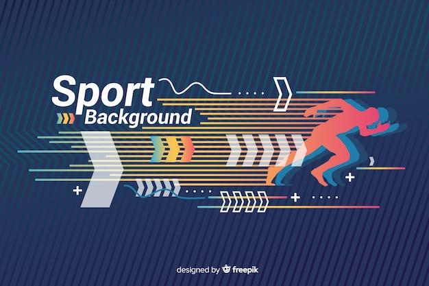 Sportachtergrond met abstract vormenontwerp Gratis Vector