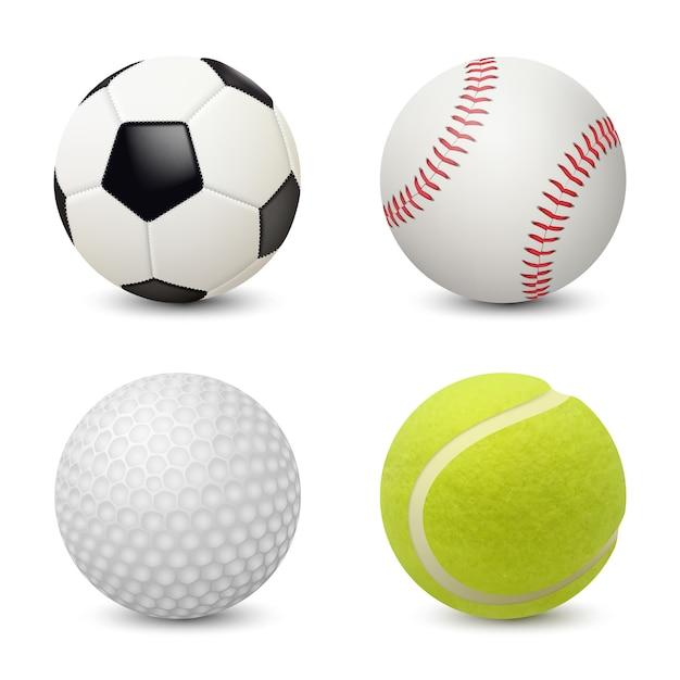 Sportballen. honkbal voetbal tennis golf realistische sportuitrusting Premium Vector