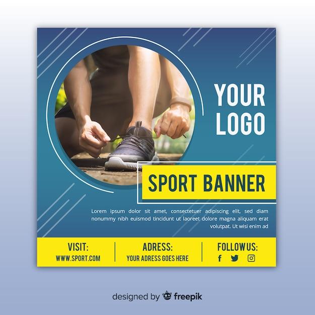 Sportbanner met foto vlak ontwerp Gratis Vector