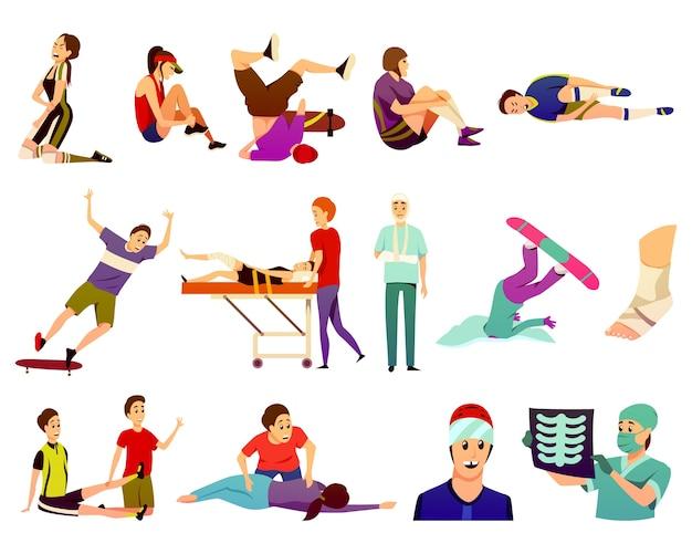Sportblessure plat kleurrijke iconen collectie van geïsoleerde atleten die lijden aan trauma's en artsen in de sportgeneeskunde Gratis Vector