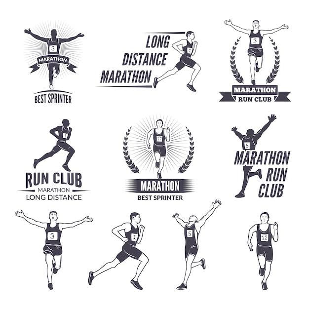 Sportetiketten bij marathathema voor sportteams. Premium Vector