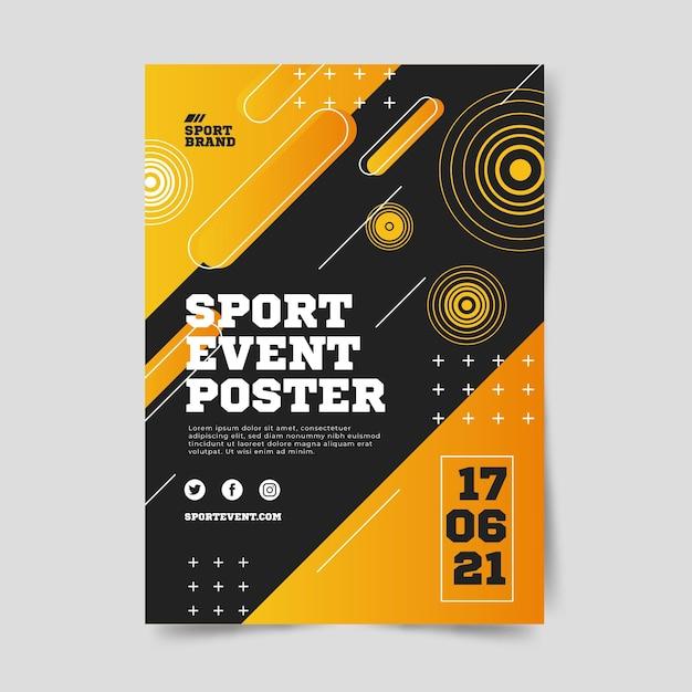 Sportevenement poster voor 2021 jaar Gratis Vector
