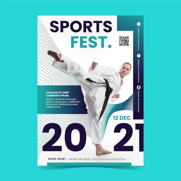 Sportevenement poster Gratis Vector