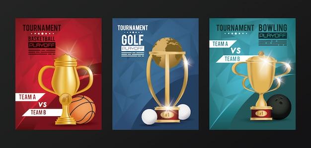 Sportevenementen trofee awards posters Premium Vector