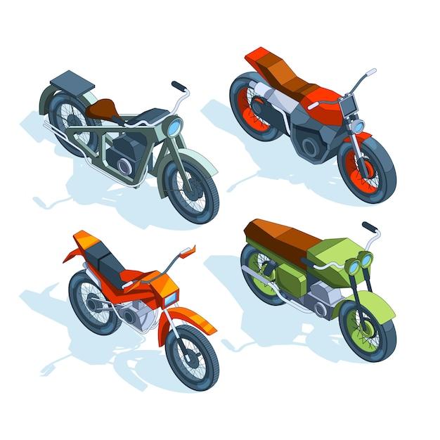 Sportfietsen isometrisch. isometrische foto's van verschillende motorfietsen Premium Vector