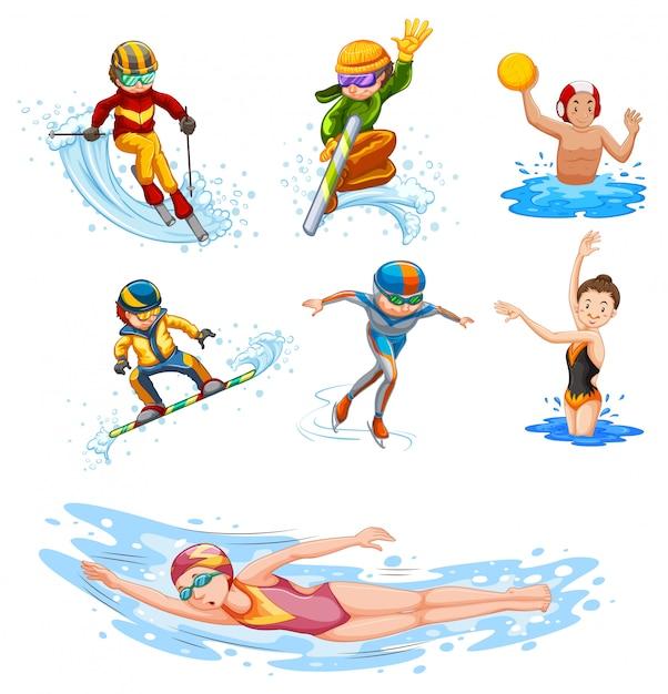 Sportieve activiteitsmensen op wit Gratis Vector