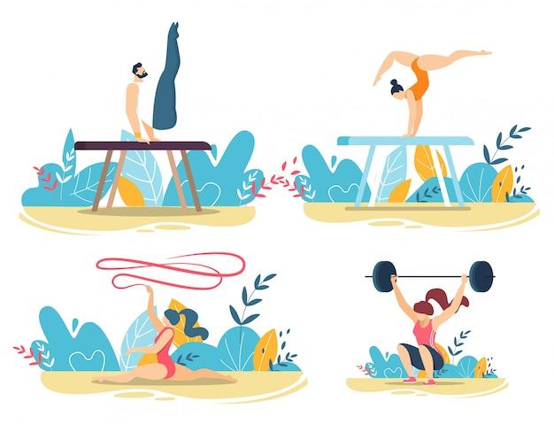 Sportieve mensen doen trucs met gym equipment set Premium Vector