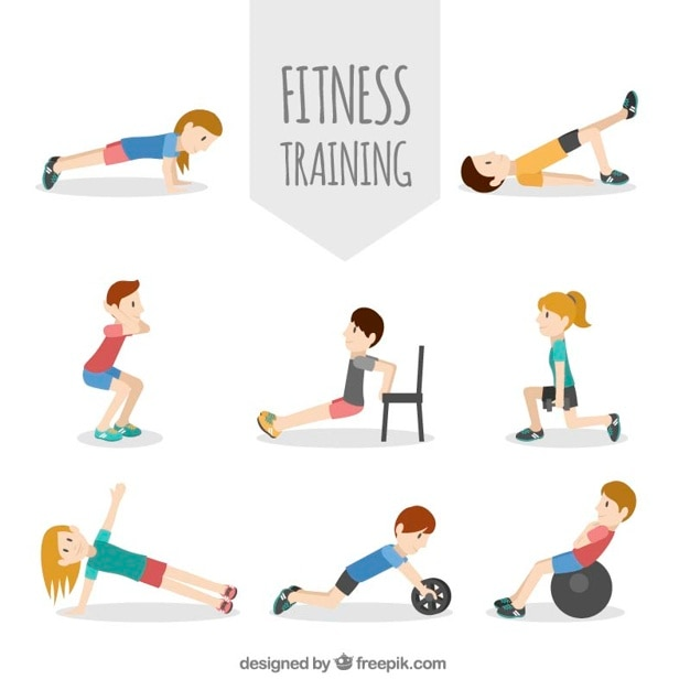 Sportieve mensen met verschillende lichamelijke oefeningen