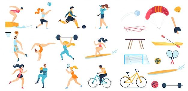 Sportieve mensen tekenset en sportuitrusting Premium Vector