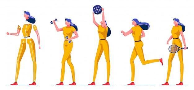 Sportieve vrouw spelen verschillende soorten spellen plat. Premium Vector