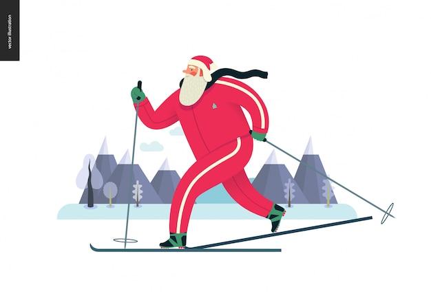 Sporting santa, winter ski-hardlopen Premium Vector