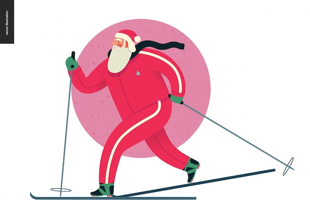Sporting santa - winter ski-hardlopen Premium Vector