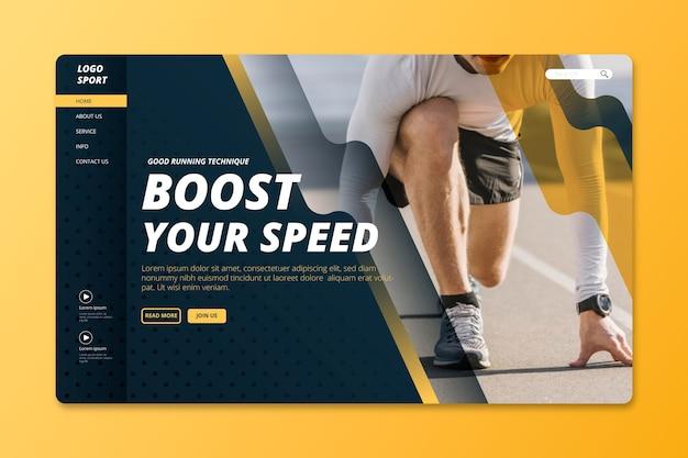 Sportlandingspagina met afbeelding Gratis Vector