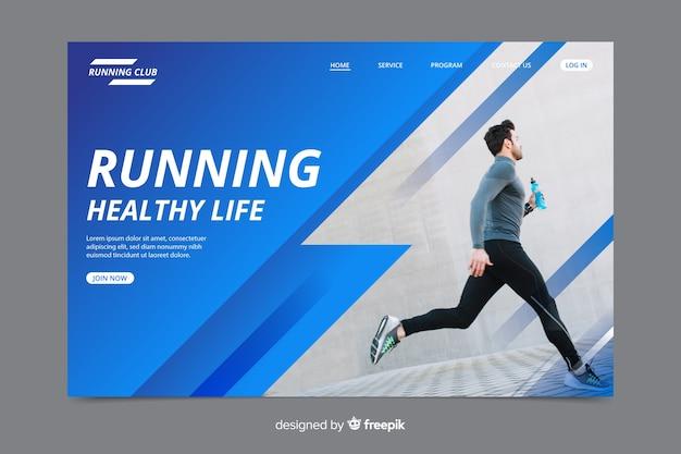 Sportlandingspagina met foto Premium Vector