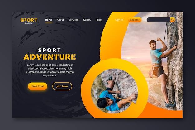 Sportlandingspagina met foto Gratis Vector