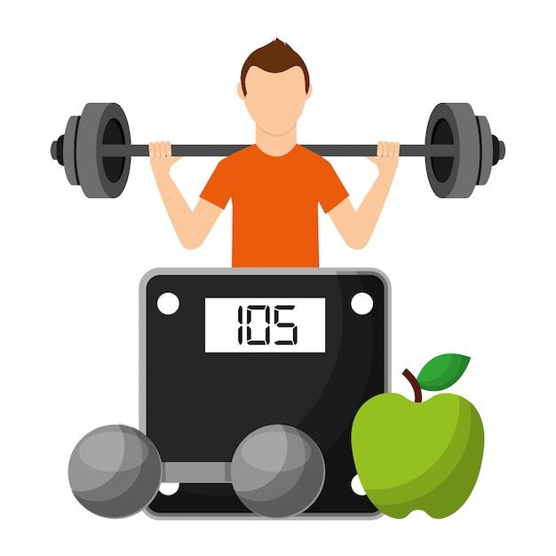 Sportman met fruit en halter kiezen voor een gezonde levensstijl Premium Vector