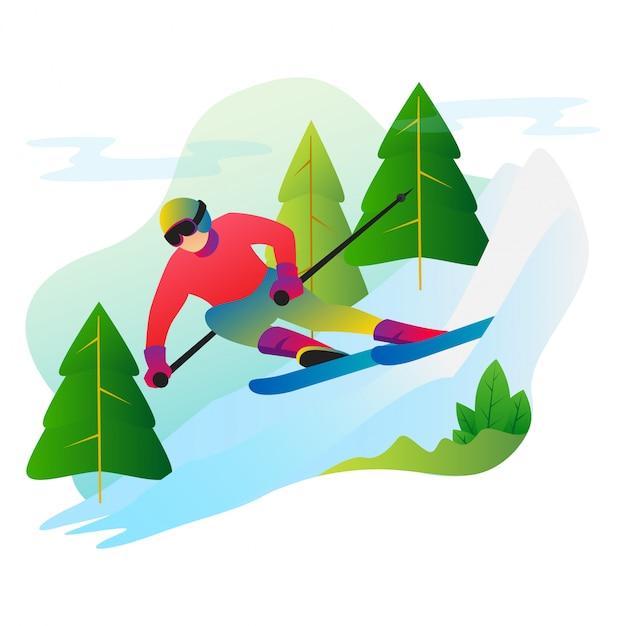 Sportman spelen in de sneeuw met een snowboard in de winter. Premium Vector