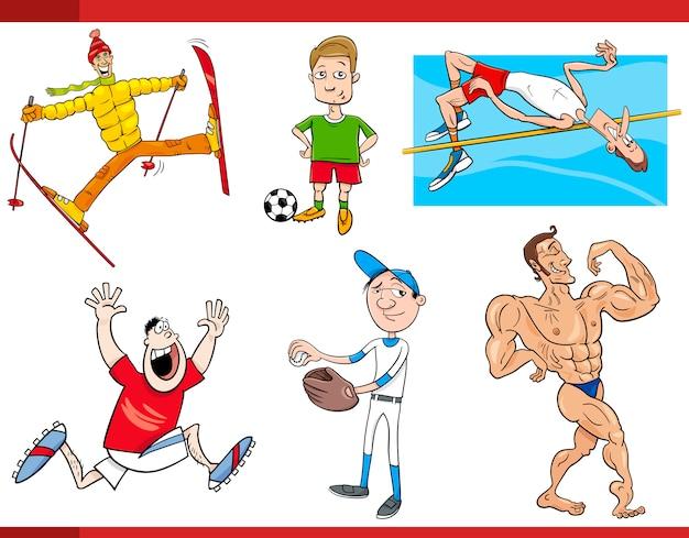 Sportmannen cartoon set Premium Vector